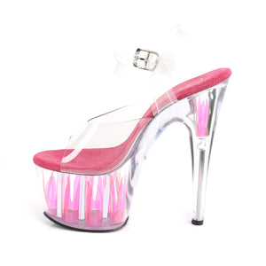 ADORE-708FLM | 7 INCH  CLEAR/CLEAR-HOT PINK PLATFORM HEEL
