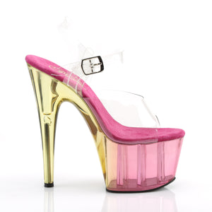 ADORE-708MCT | 7 INCH  CLEAR/PINK TINTED PLATFORM HEEL