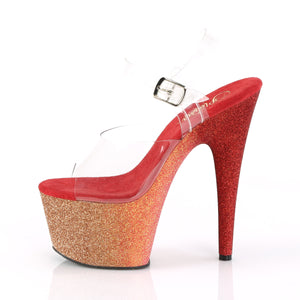ADORE-708OMBRE | 7 INCH  CLEAR/ROSE GOLD-RED OMBRE PLATFORM HEEL