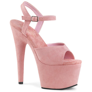 ADORE-709FS | 7 INCH  BABY PINK FAUX SUEDE/BABY PINK FAUX SUEDE PLATFORM HEEL