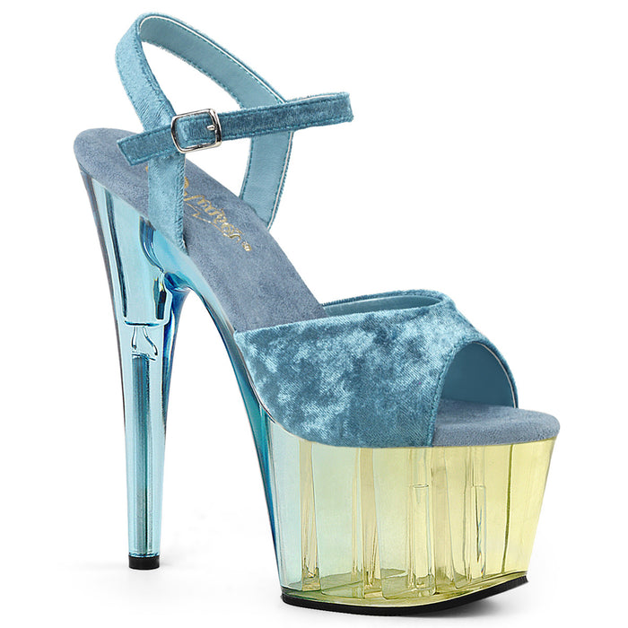 ADORE-709MCT | 7 INCH  LIGHT BLUE CRUSHED VELVET/DUAL TINTED PLATFORM HEEL