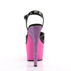 ADORE-709OMBRE | 7 INCH  BLACK PATENT/PINK-LAVENDER OMBRE PLATFORM HEEL
