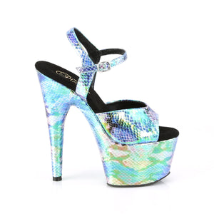ADORE-709SP | 7 INCH  BLUE HOLOGRAM SNAKE PRINT/BLUE HOLOGRAM WRAPPED PLATFORM HEEL
