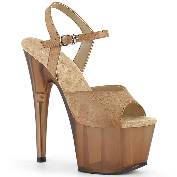 ADORE-709T | 7 INCH  CAMEL FAUX LEATHER/FROSTED BROWN PLATFORM HEEL