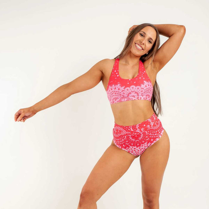 AMORE CROP TOP IN RED / PINK PATTERN - AMBR DESIGNS