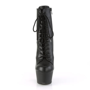 ASPIRE-1020 | 6 INCH  BLACK FAUX LEATHER/BLACK MATTE PLATFORM MID CALF BOOT
