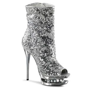 BLONDIE-R-1008 | 6 INCH  SILVER SEQUINS/SILVER CHROME PLATFORM MID CALF BOOT