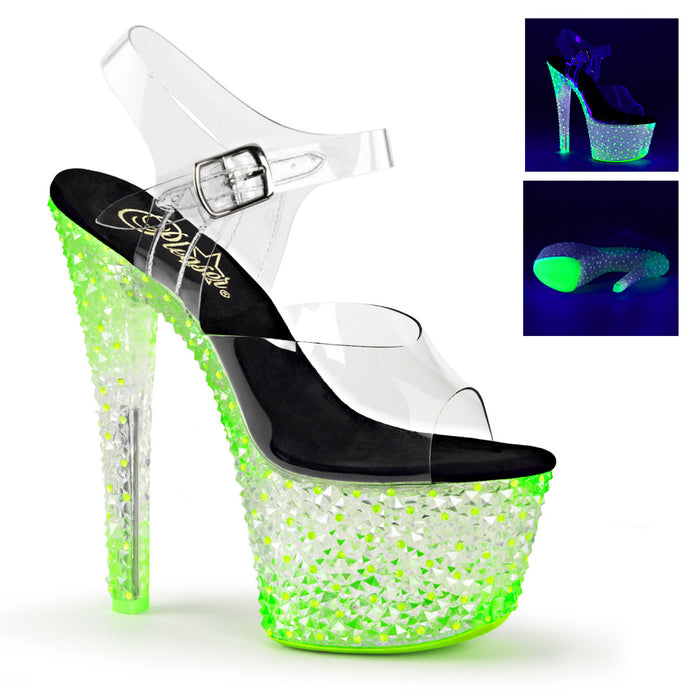CRYSTALIZE-308PS | 7 INCH  CLEAR/NEON ICY GREEN PLATFORM HEEL