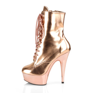 DELIGHT-1020 | 6 INCH  ROSE GOLD METALLIC PU/ROSE GOLD CHROME PLATFORM MID CALF BOOT