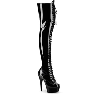 DELIGHT-3023 | 6 INCH  BLACK STRETCH PATENT/BLACK PLATFORM THIGH HIGH BOOT