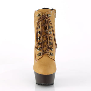 DELIGHT-600TL-02 | 6 INCH  TAN NUBUCK FAUX LEATHER/DARK BROWN MATTE PLATFORM MID CALF BOOT
