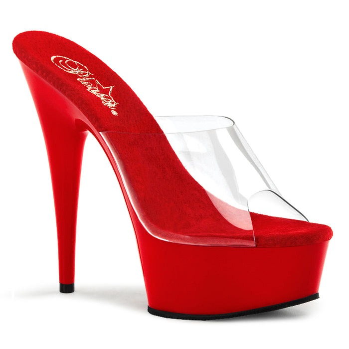 DELIGHT-601 | 6 INCH  CLEAR/RED PLATFORM HEEL