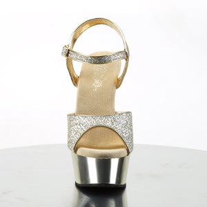 DELIGHT-609G | 6 INCH  GOLD MULTI GLITTER/GOLD CHROME PLATFORM HEEL