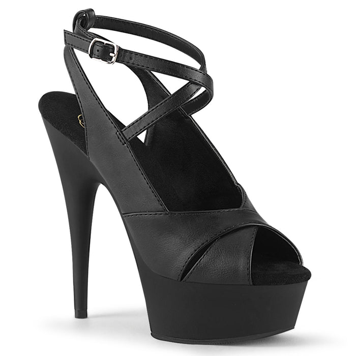 DELIGHT-632 | 6 INCH  BLACK FAUX LEATHER/BLACK MATTE PLATFORM HEEL