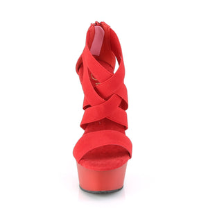 DELIGHT-669 | 6 INCH  RED ELASTIC BAND-FAUX LEATHER/RED MATTE PLATFORM HEEL