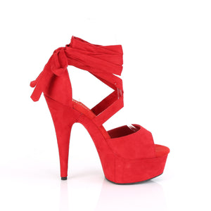 DELIGHT-679 | 6 INCH  RED FAUX SUEDE/RED FAUX SUEDE PLATFORM HEEL
