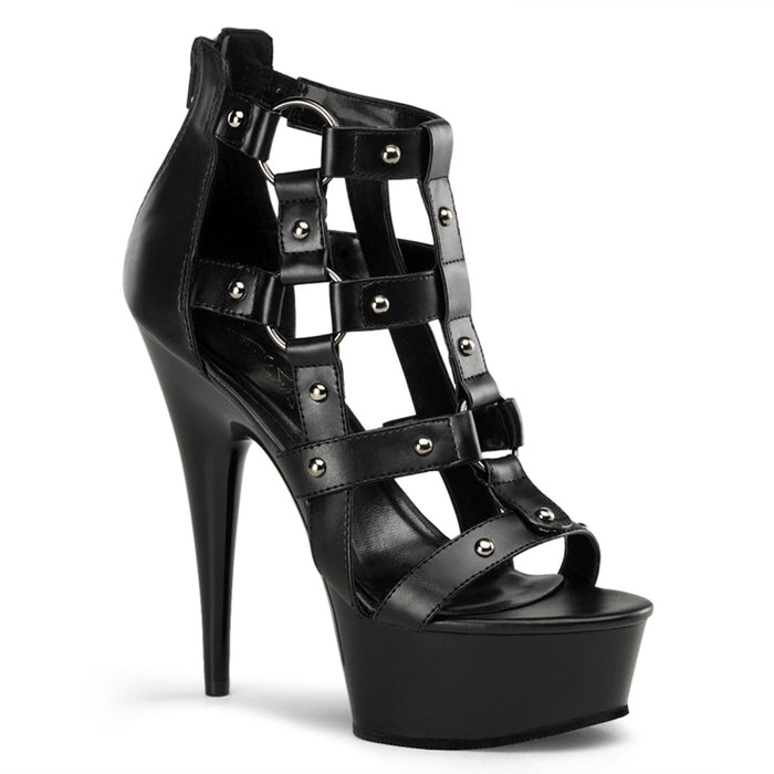 DELIGHT-682 | 6 INCH  BLACK FAUX LEATHER/BLACK PLATFORM HEEL