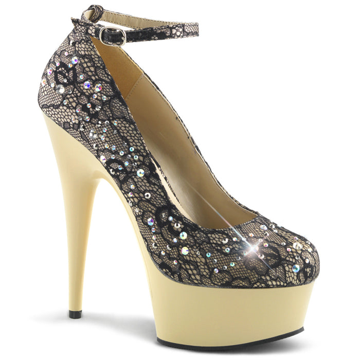 DELIGHT-686LC | 6 INCH  CHAMPAGNE SATIN-LACE/CREAM PLATFORM HEEL