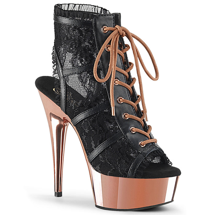 DELIGHT-696LC | 6 INCH  BLACK FAUX LEATHER-LACE/ROSE GOLD CHROME PLATFORM MID CALF BOOT