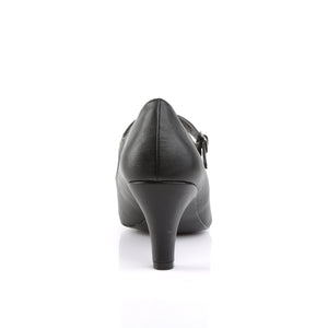 DIVINE-440 | 3 INCH  BLACK FAUX LEATHER PLATFORM HEEL