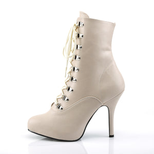 EVE-106 | 5 INCH  CREAM FAUX LEATHER PLATFORM MID CALF BOOT