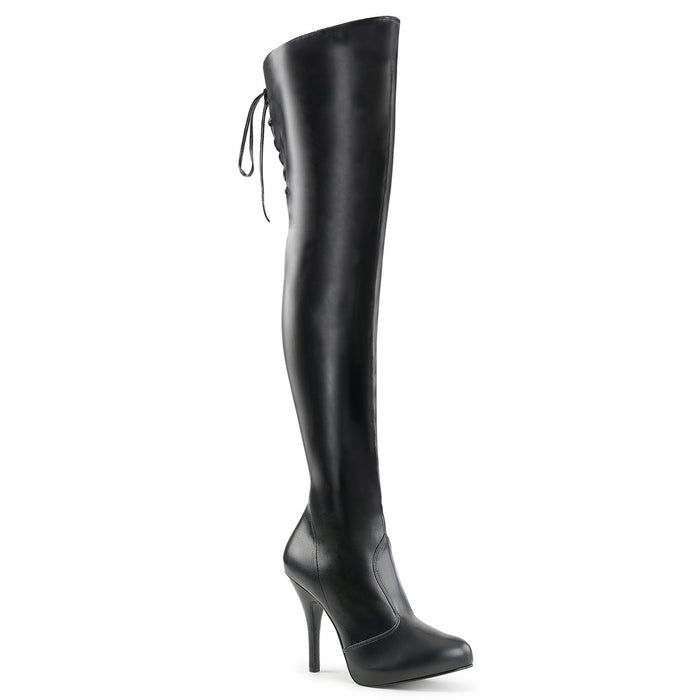 EVE-312 | 5 INCH  BLACK STRETCH FAUX LEATHER PLATFORM THIGH HIGH BOOT