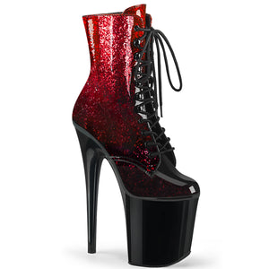 FLAMINGO-1020OMB | 8 INCH  RED-BURGUNDY GLITTERED OMBRE PATENT/BLACK PLATFORM MID CALF BOOT