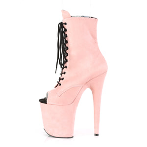 FLAMINGO-1021FS | 8 INCH  BABY PINK FAUX SUEDE/BABY PINK FAUX SUEDE PLATFORM MID CALF BOOT