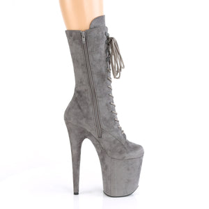 FLAMINGO-1050FS | 8 INCH  GREY FAUX SUEDE/GREY FAUX SUEDE PLATFORM MID CALF BOOT