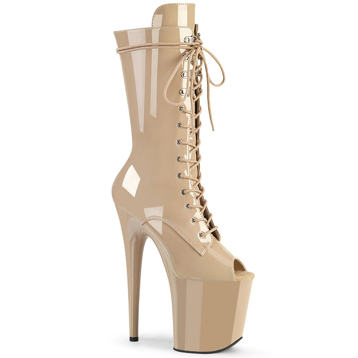FLAMINGO-1051 | 8 INCH  NUDE PATENT/NUDE PLATFORM MID CALF BOOT