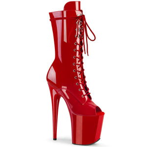 FLAMINGO-1051 | 8 INCH  RED PATENT/RED PLATFORM MID CALF BOOT