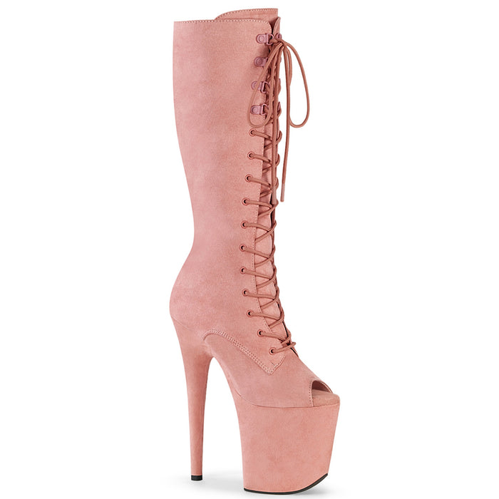 FLAMINGO-2051FS | 8 INCH  BABY PINK FAUX SUEDE/BABY PINK FAUX SUEDE PLATFORM