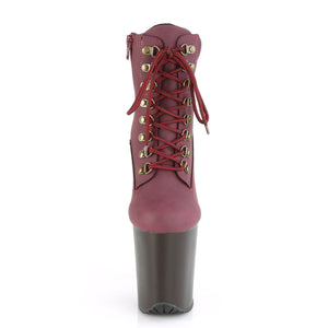 FLAMINGO-800TL-02 | 8 INCH  BURGUNDY NUBUCK FAUX LEATHER/DARK BROWN MATTE PLATFORM MID CALF BOOT