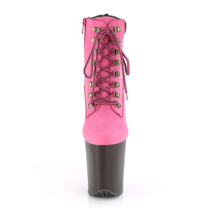 FLAMINGO-800TL-02 | 8 INCH  HOT PINK NUBUCK FAUX LEATHER/DARK BROWN MATTE PLATFORM MID CALF BOOT