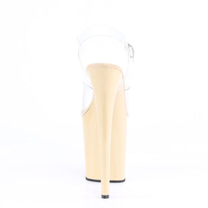FLAMINGO-808 | 8 INCH  CLEAR/CREAM PLATFORM HEEL