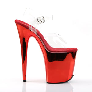 FLAMINGO-808 | 8 INCH  CLEAR/RED CHROME PLATFORM HEEL