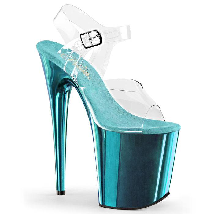FLAMINGO-808 | 8 INCH  CLEAR/TURQUOISE CHROME PLATFORM HEEL