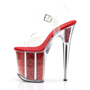 FLAMINGO-808G | 8 INCH  CLEAR/RED GLITTER PLATFORM HEEL
