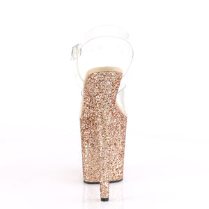 FLAMINGO-808LG | 8 INCH  CLEAR/ROSE GOLD MULTI GLITTER PLATFORM HEEL