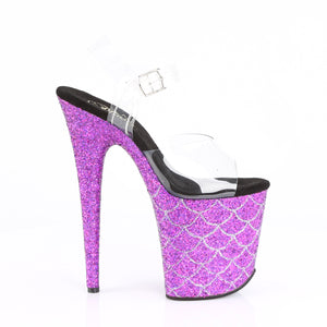 FLAMINGO-808MSLG | 8 INCH  CLEAR/PURPLE MULTI GLITTER PLATFORM HEEL