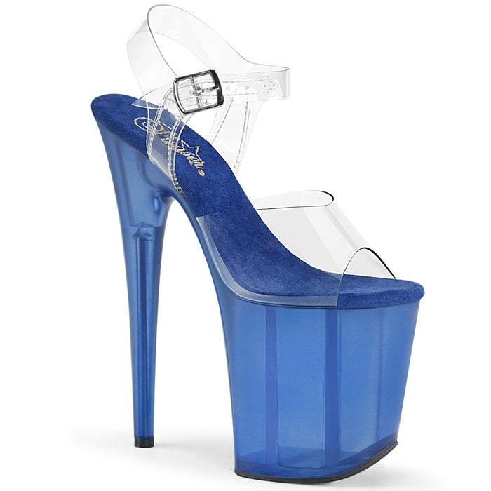 FLAMINGO-808T | 8 INCH  CLEAR/BLUE TINTED PLATFORM HEEL