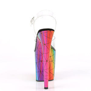 FLAMINGO-808WR | 8 INCH  CLEAR/LASER RAINBOW HOLOGRAM WRAPPED PLATFORM HEEL