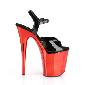 FLAMINGO-809 | 8 INCH  BLACK PATENT/RED CHROME PLATFORM HEEL