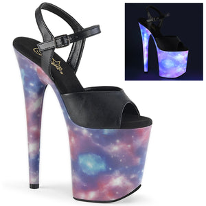 FLAMINGO-809REFL | 8 INCH  BLACK FAUX LEATHER/PURPLE-BLUE REFLECTIVE PLATFORM HEEL