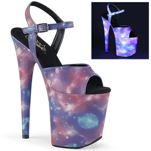 FLAMINGO-809REFL | 8 INCH  PURPLE-BLUE REFLECTIVE/PURPLE-BLUE REFL. PLATFORM HEEL