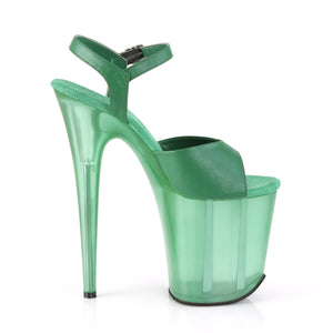 FLAMINGO-809T | 8 INCH  GREEN FAUX LEATHER/FROSTED GREEN PLATFORM HEEL