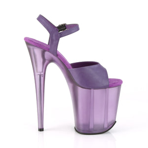 FLAMINGO-809T | 8 INCH  PURPLE FAUX LEATHER/FROSTED PURPLE PLATFORM HEEL
