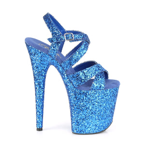 FLAMINGO-897LG | 8 INCH  ROYAL BLUE GLITTER/ROYAL BLUE GLITTER PLATFORM HEEL