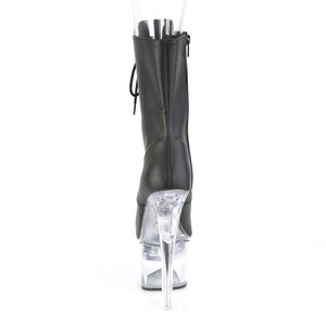 FLASHDANCE-1020-7 | 7 INCH  BLACK FAUX LEATHER/CLEAR PLATFORM MID CALF BOOT