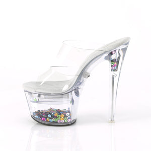 FLASHDANCE-702SQ | 7 INCH  CLEAR/CLEAR-SEQUINS INSERTED PLATFORM HEEL